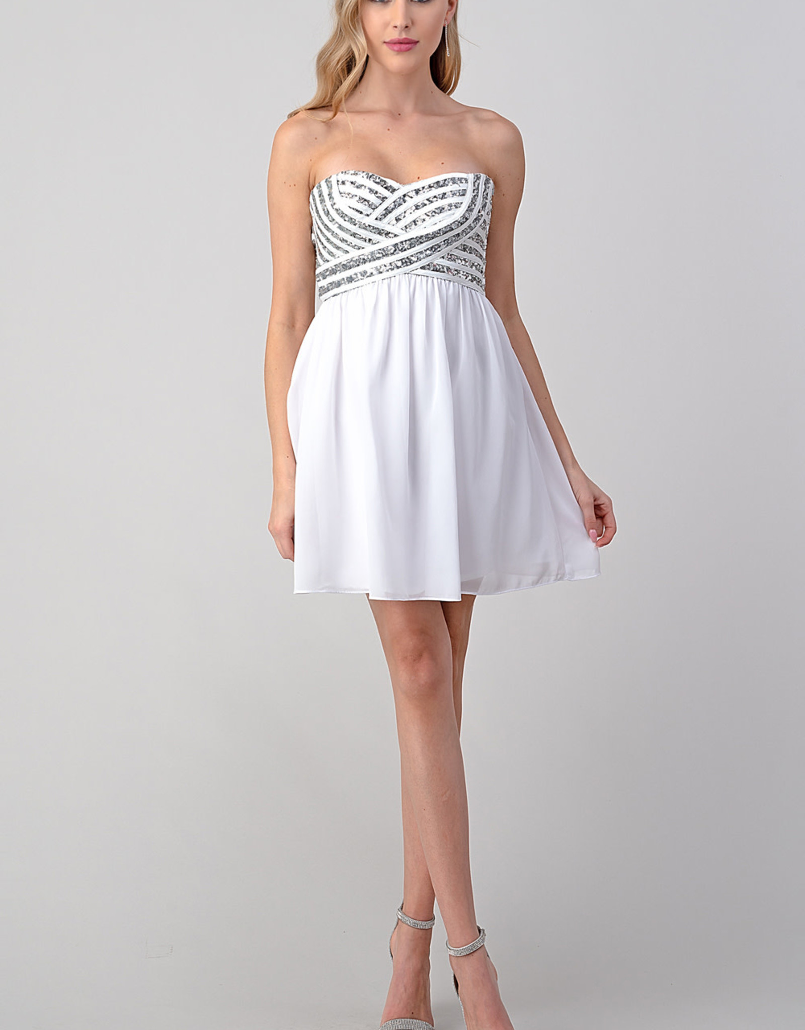 Minuet Silver Sequins White Dress