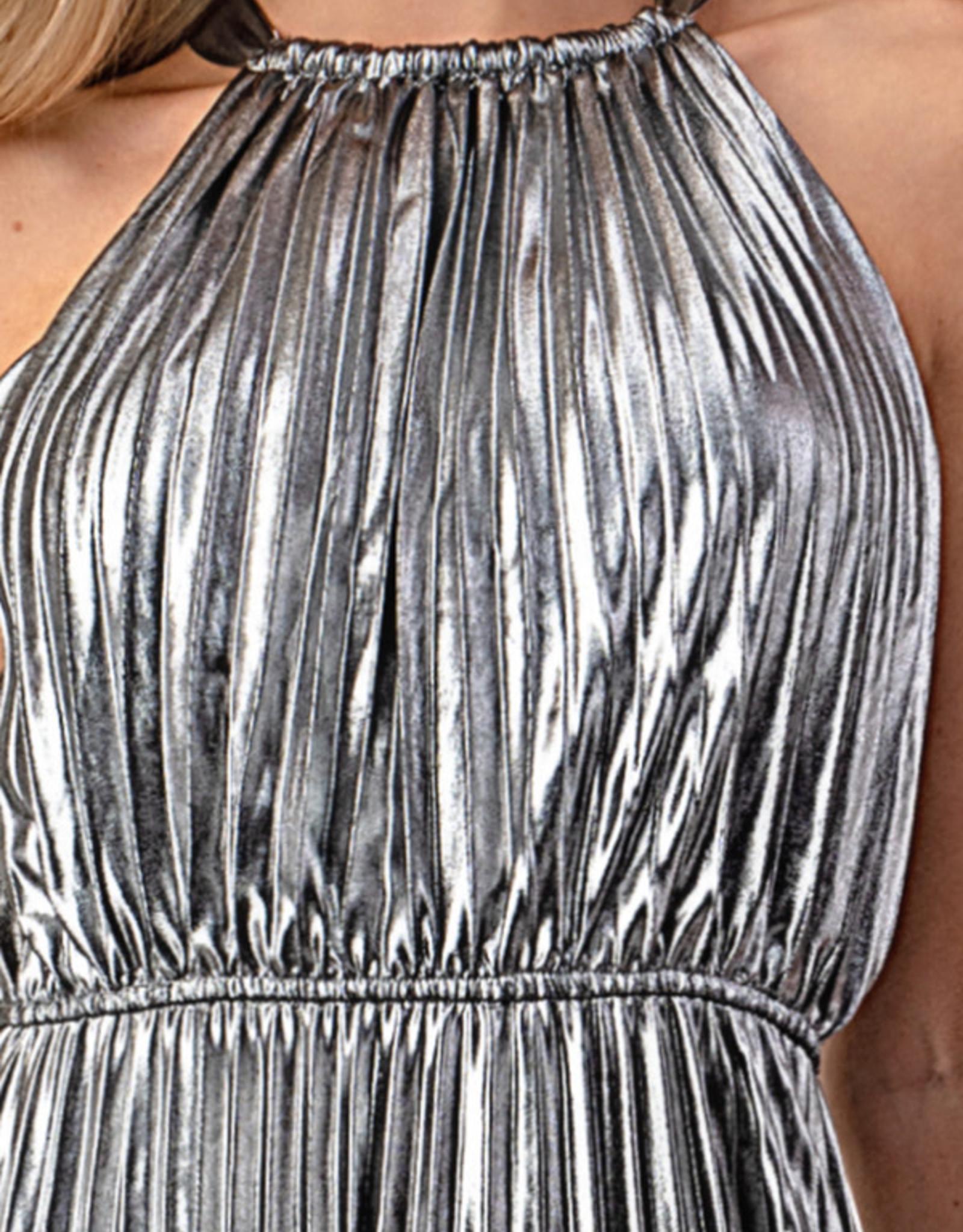 Minuet Silver Pleated Midi