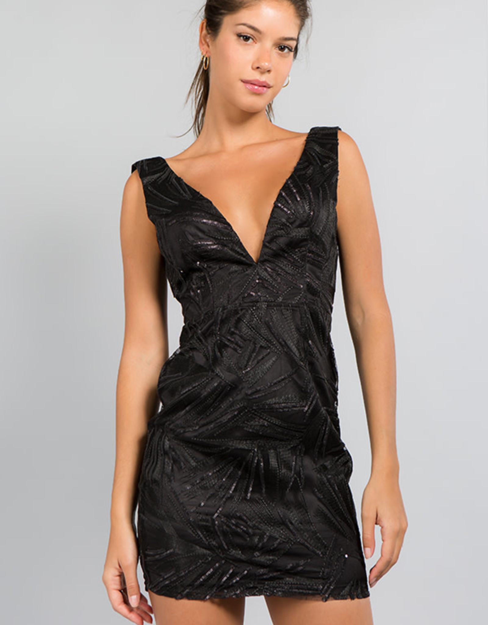 Minuet Black Deep V Dress