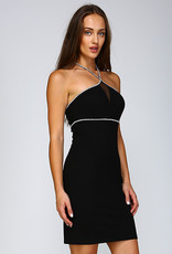 Minuet Rhinestone Mesh Black Dress