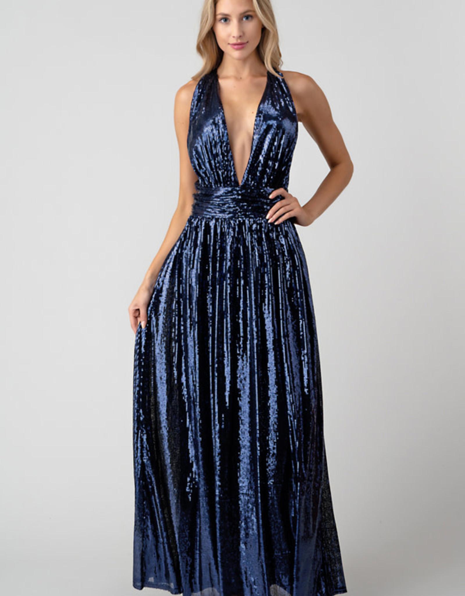 Navy Plunge Sequin Gown