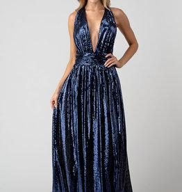 Minuet Navy Plunge Sequin Gown