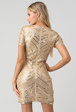 Minuet Gold Sequins Beads Bodycon