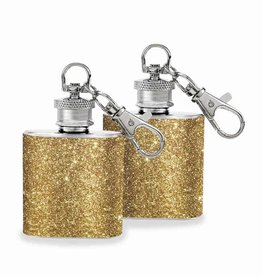 Wild Eye Mini Keychain Flask Set - Gold Glitter