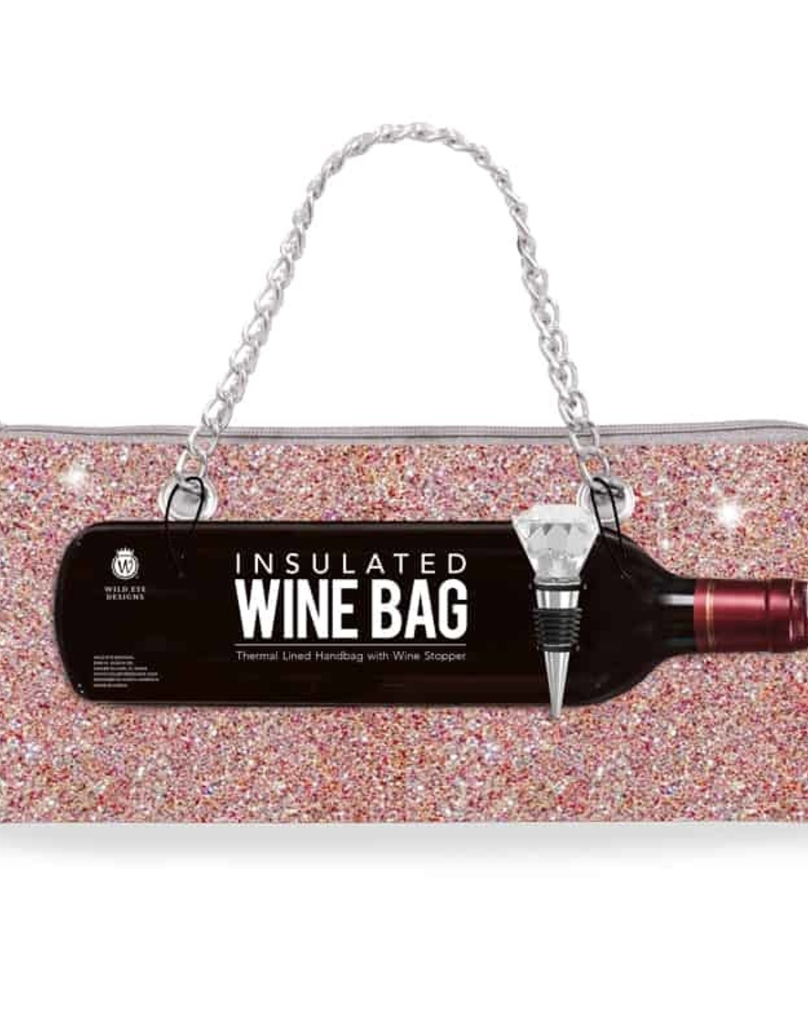 Wild Eye Insulated Wine Bag/Stopper Set - Champagne Confetti