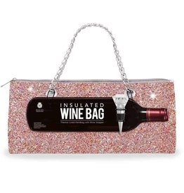 Wild Eye Insulated Wine Bag/Stopper Set - Champagne Confetti