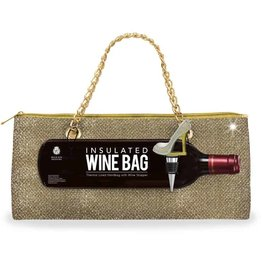 Wild Eye Insulated Wine Bag/Stopper Set - Gold Glitter
