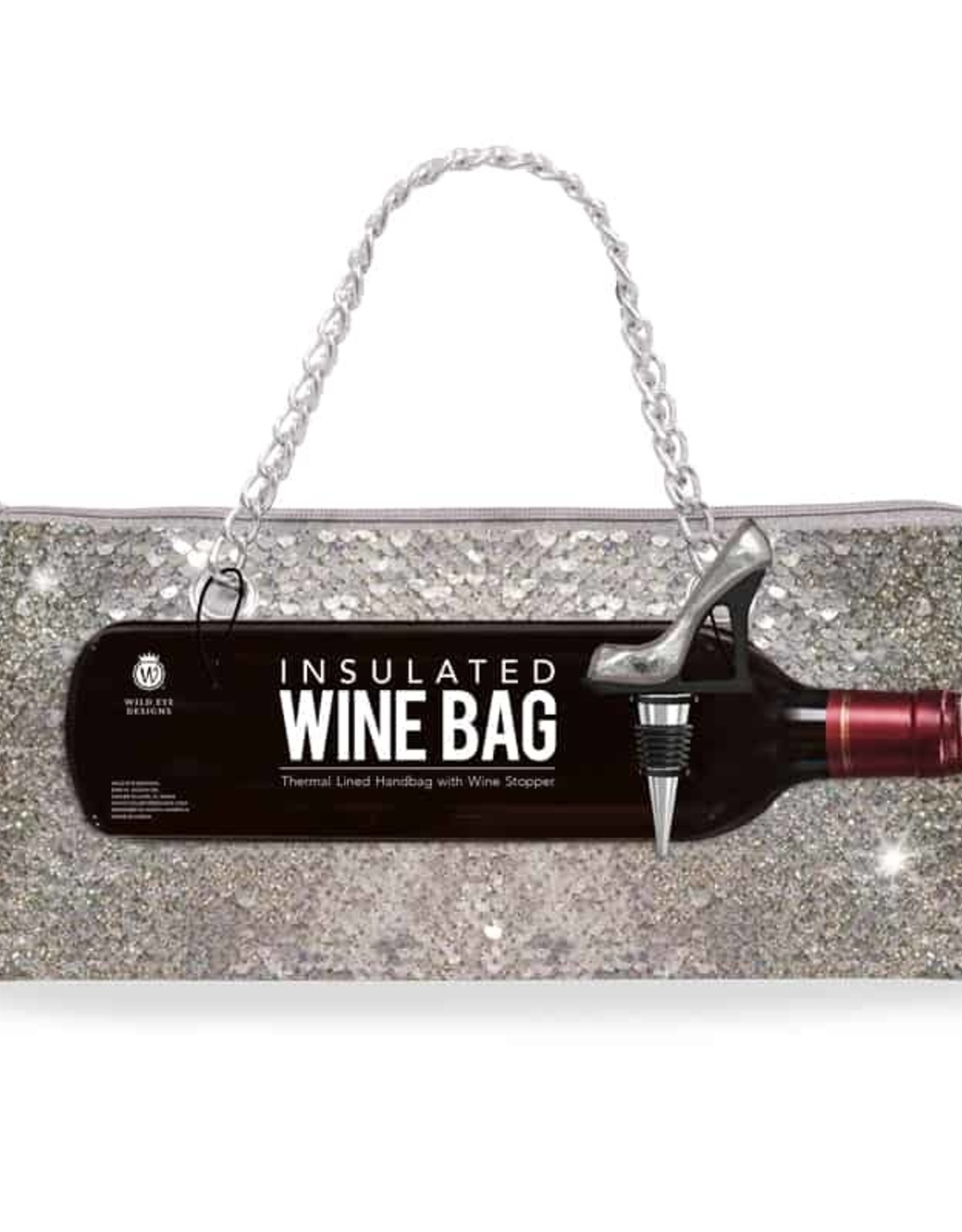 Wild Eye Insulated Wine Bag/Stopper Set - Silver Sequin