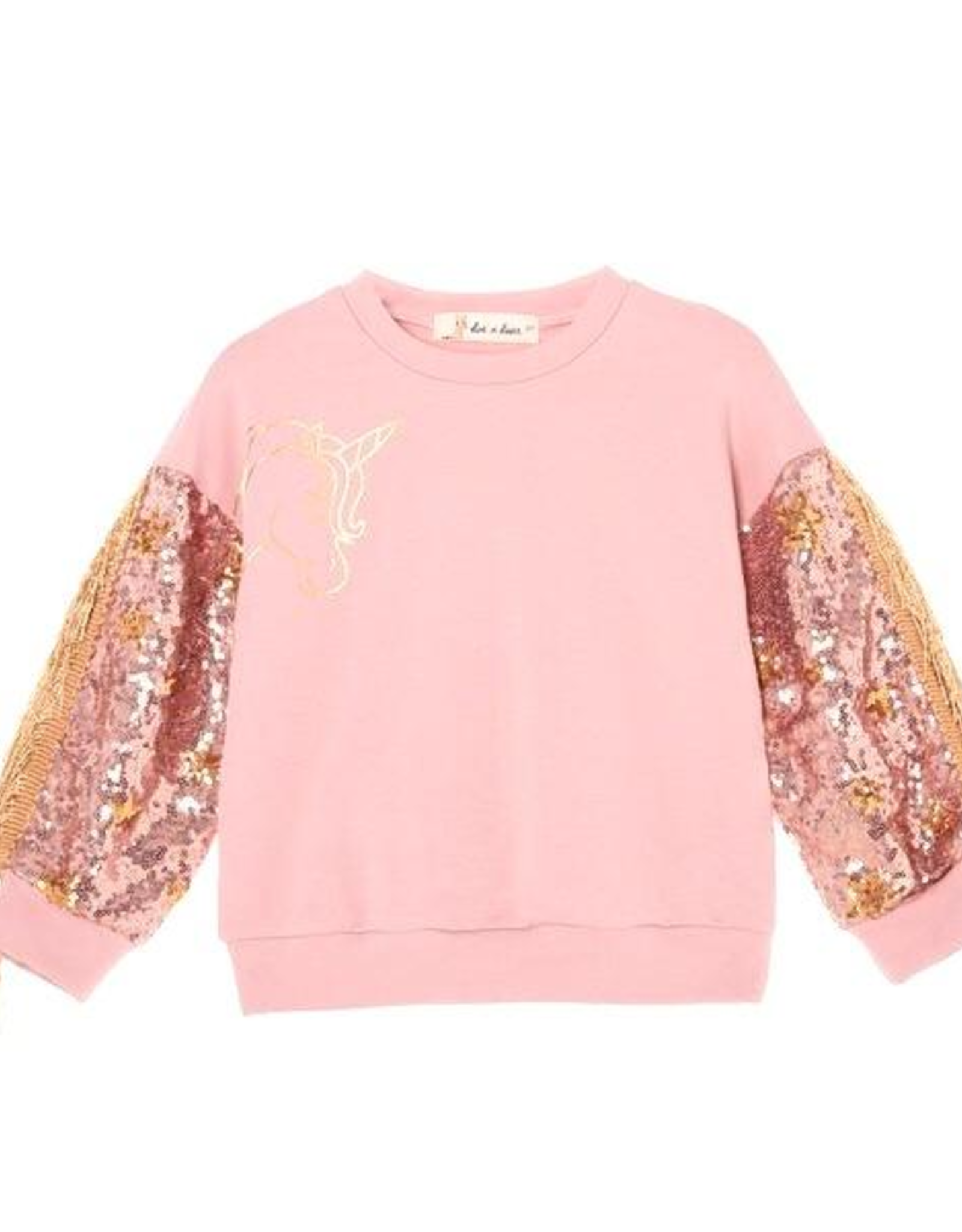 Doe a Dear LS Sequin Unicorn Sweatshirt w/fringe