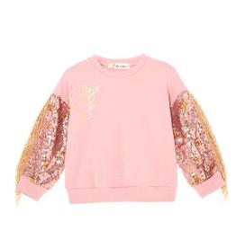 Doe a Dear LS Sequin Unicorn Sweatshirt w/fringe