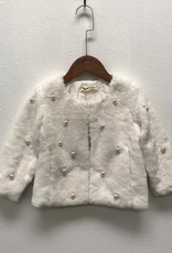 Doe a Dear White Fur Coat w/Pearls