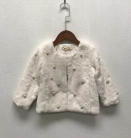 Doe a Dear White Fur Coat w/Pearls