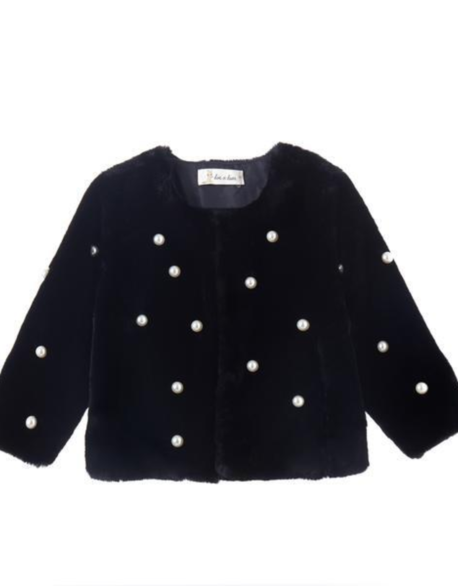 Doe a Dear Black Fur Coat w/Pearls