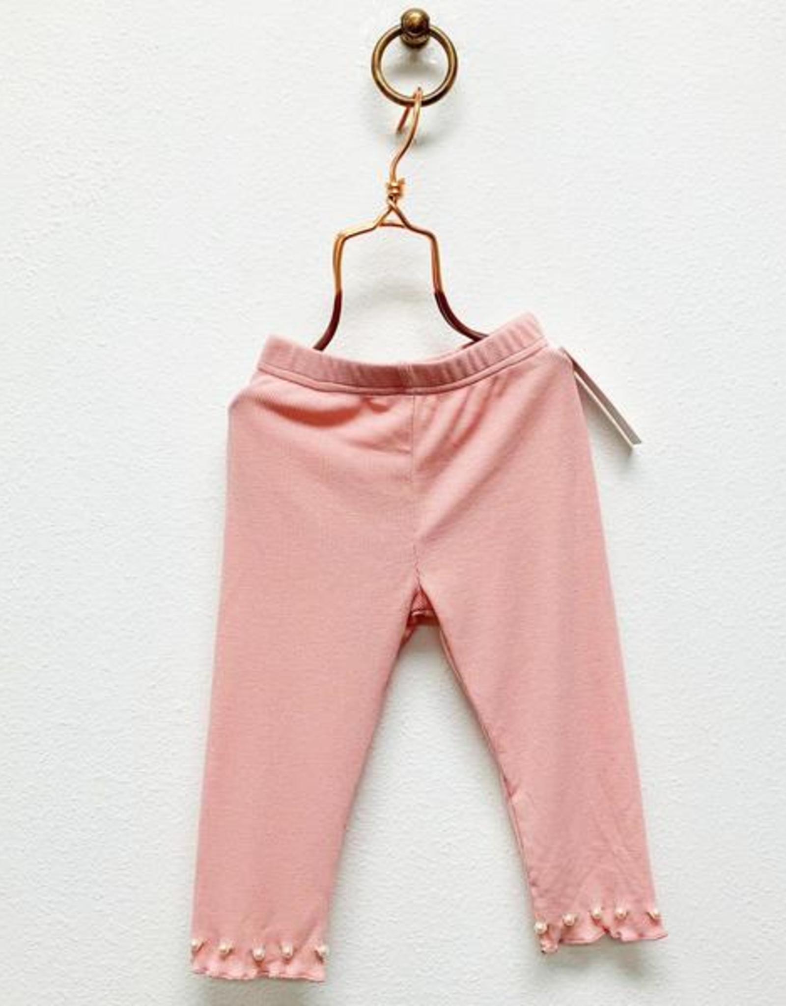 Doe a Dear Pink Glitter Leggings with Pearls