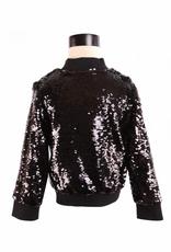 Doe a Dear L/S Allover Sequin Zip-Up Jacket Black
