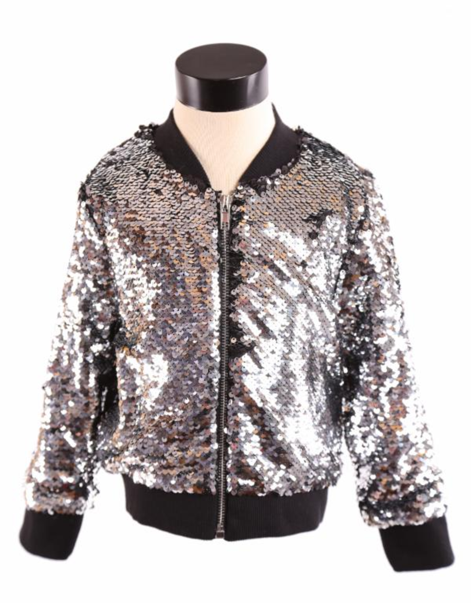 Doe a Dear L/S Allover Sequin Zip-Up Jacket Silver