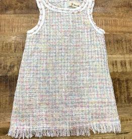 Doe a Dear Tweed Sleeveless Dress w/Pink Pearl Trim
