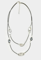 A Touch of Style Crystal/Grey Layered Necklace