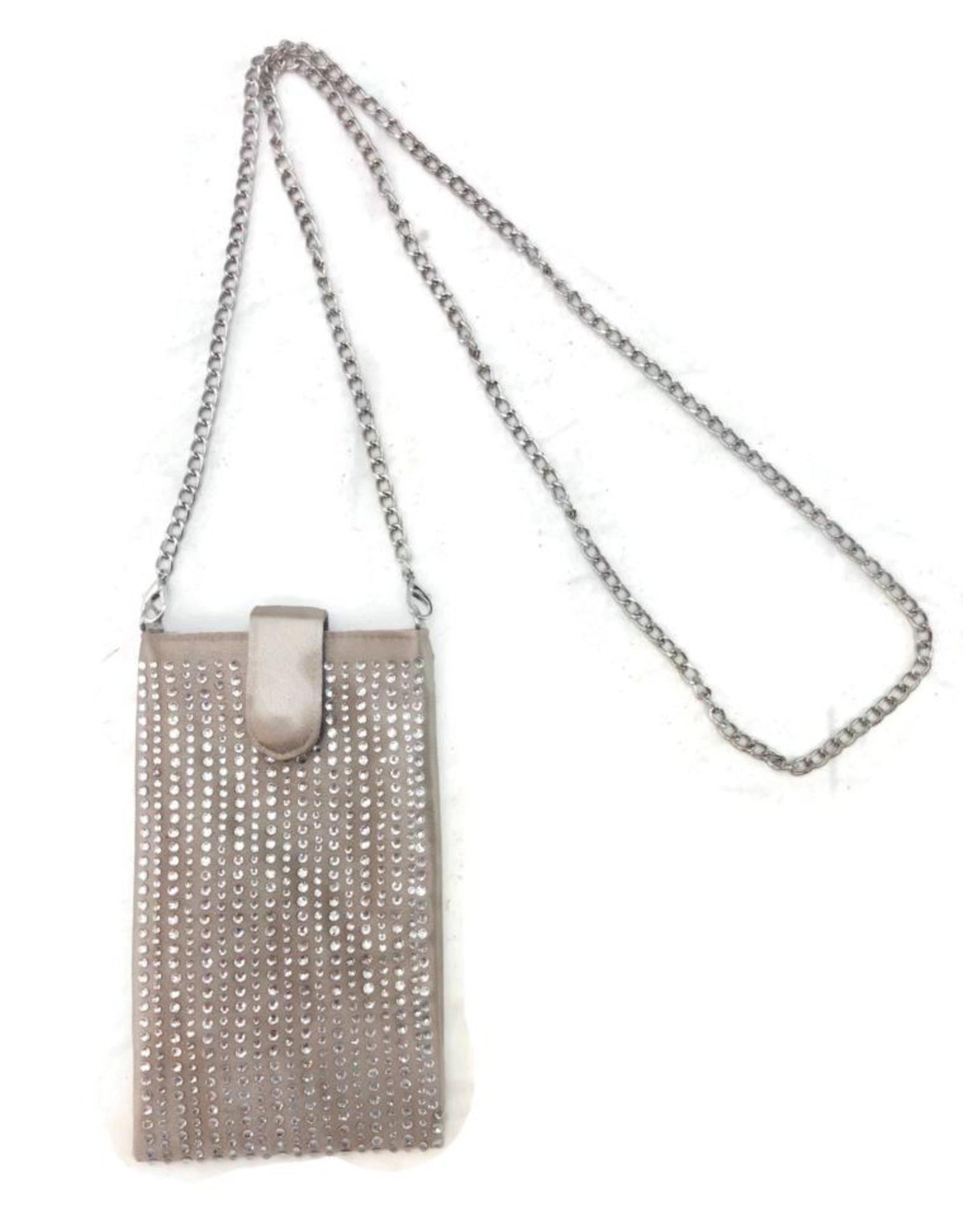 A Touch of Style Beige Rhinestone Phone Crossbody