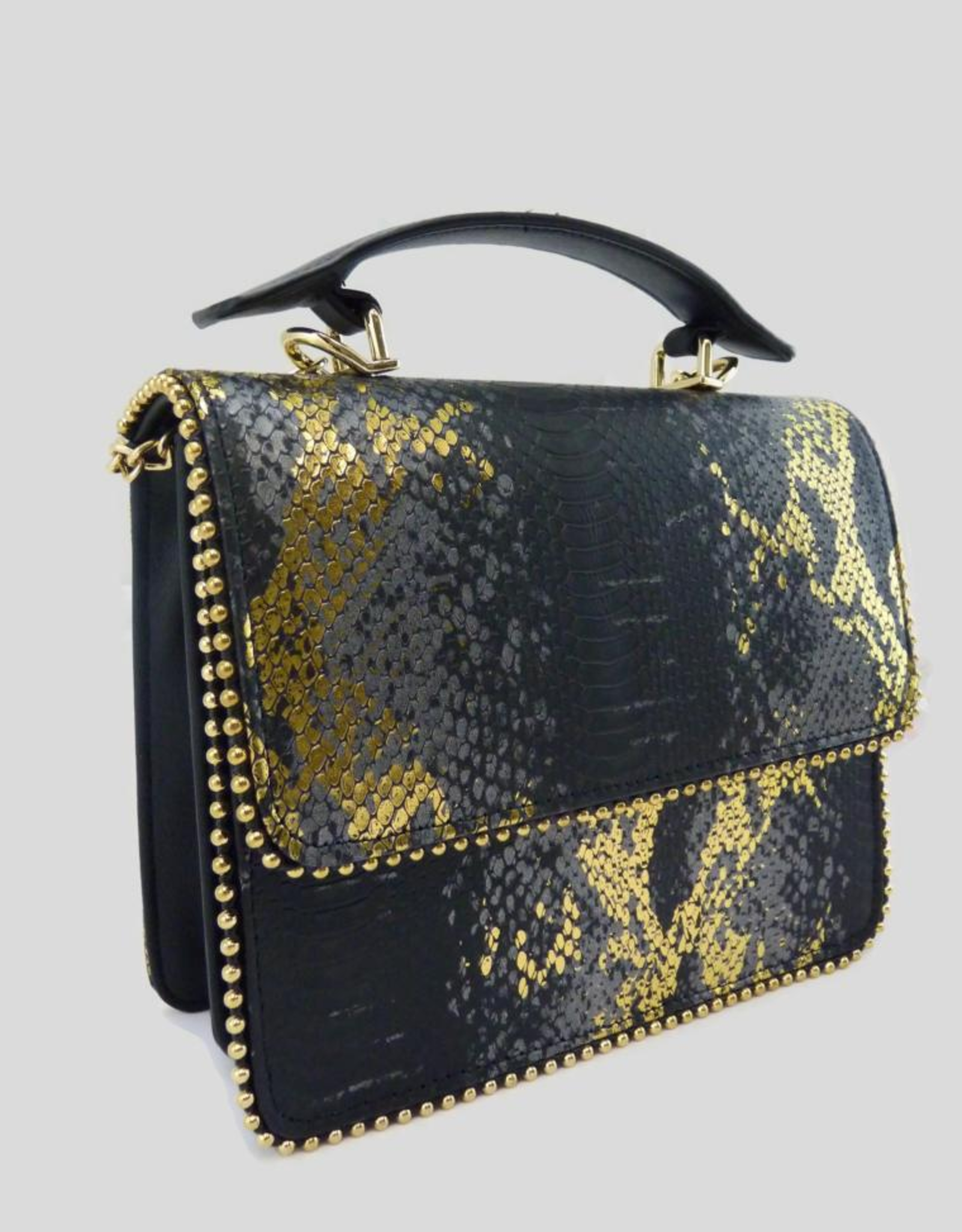 A Touch of Style Black Gold Metallic Snake Print Chain Crossbody