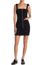 BB Dakota Front Zip Mini Denim Dress Black