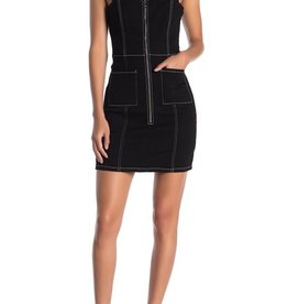 BB Dakota Front Zip Mini Denim Dress Black