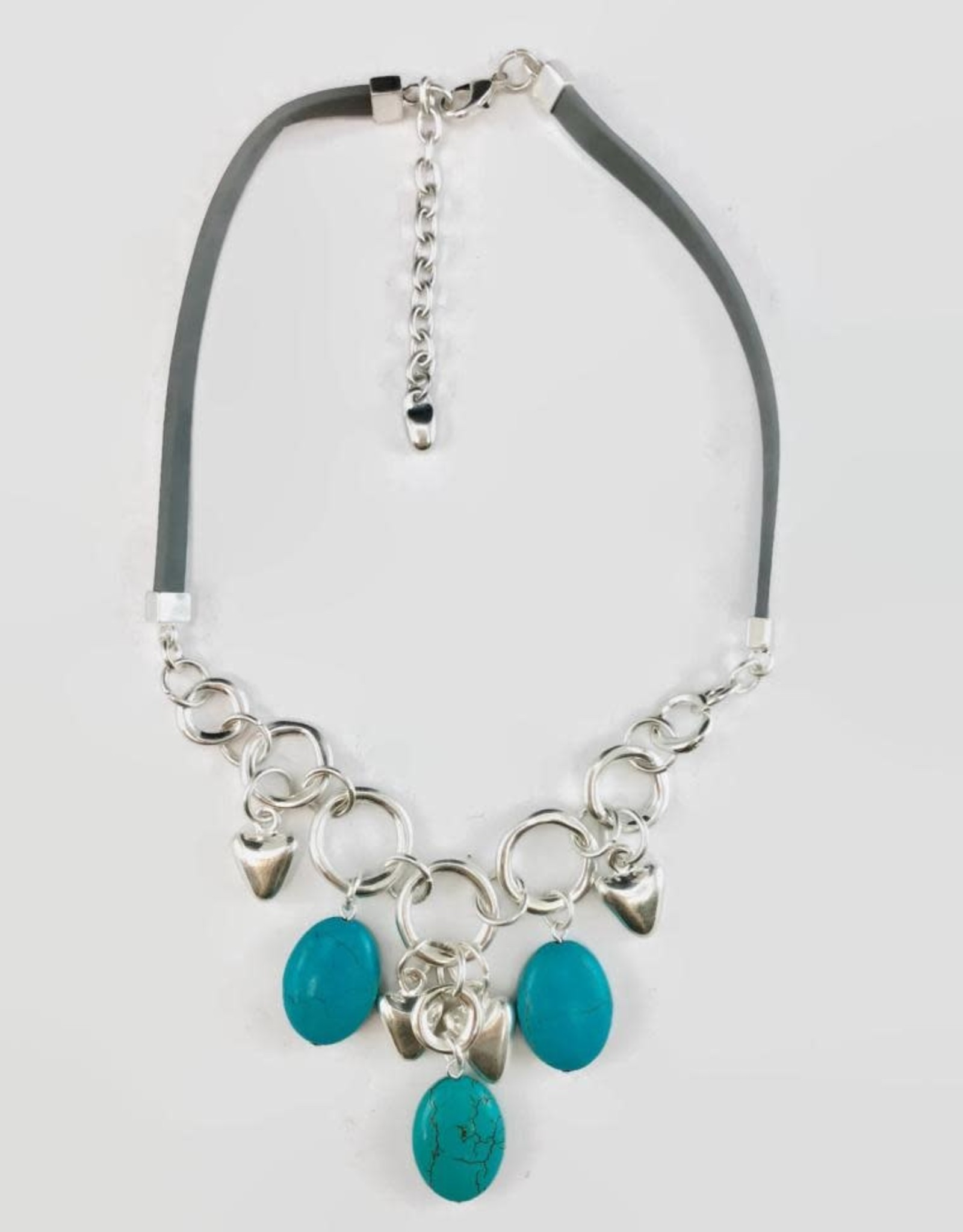 Turquoise Stone Silver Hearts Necklace