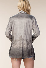Natural Faux Suede Lace Jacket