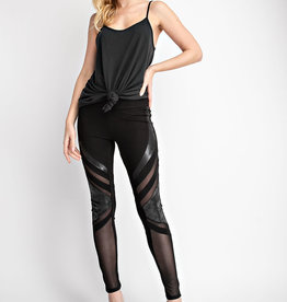 Vocal Multimedia Faux Leather Sheer Leggings