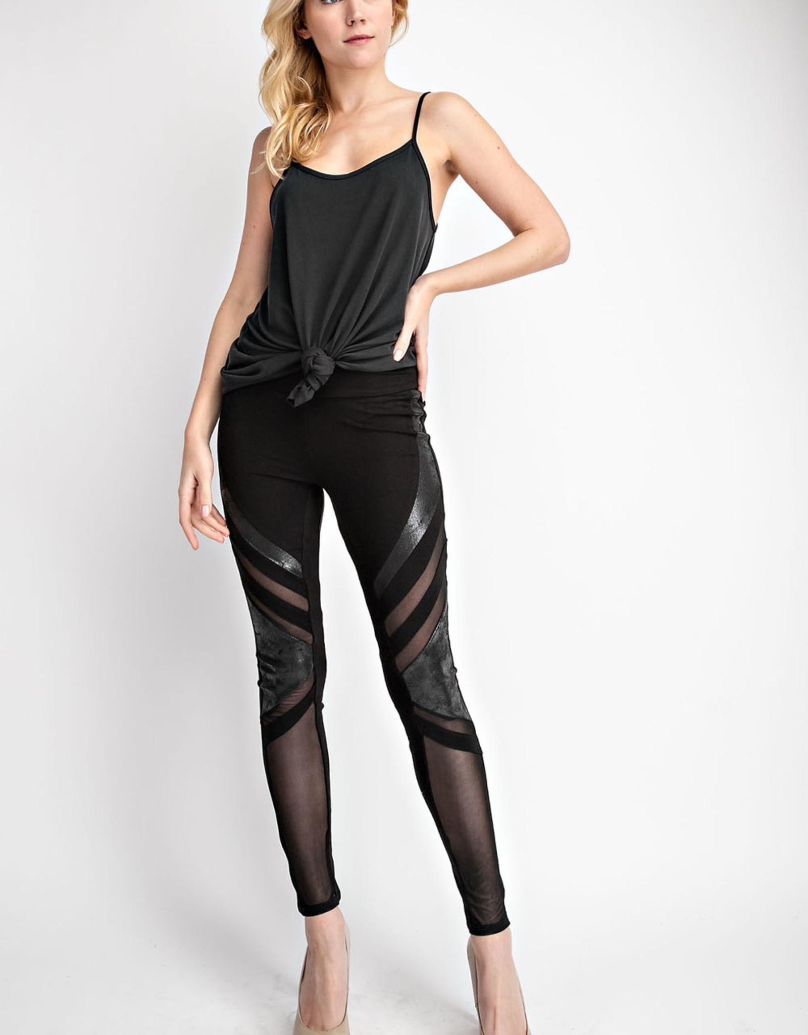 Vocal Multimedia Faux Leather Sheer Leggings
