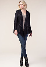 Faux Suede Fringe Long Sleeve Jacket Black