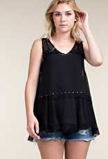 Lace Stud Sleeveless Tank