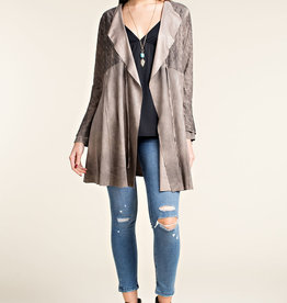 Distressed Faux Suede Lace Jacket -  Stone