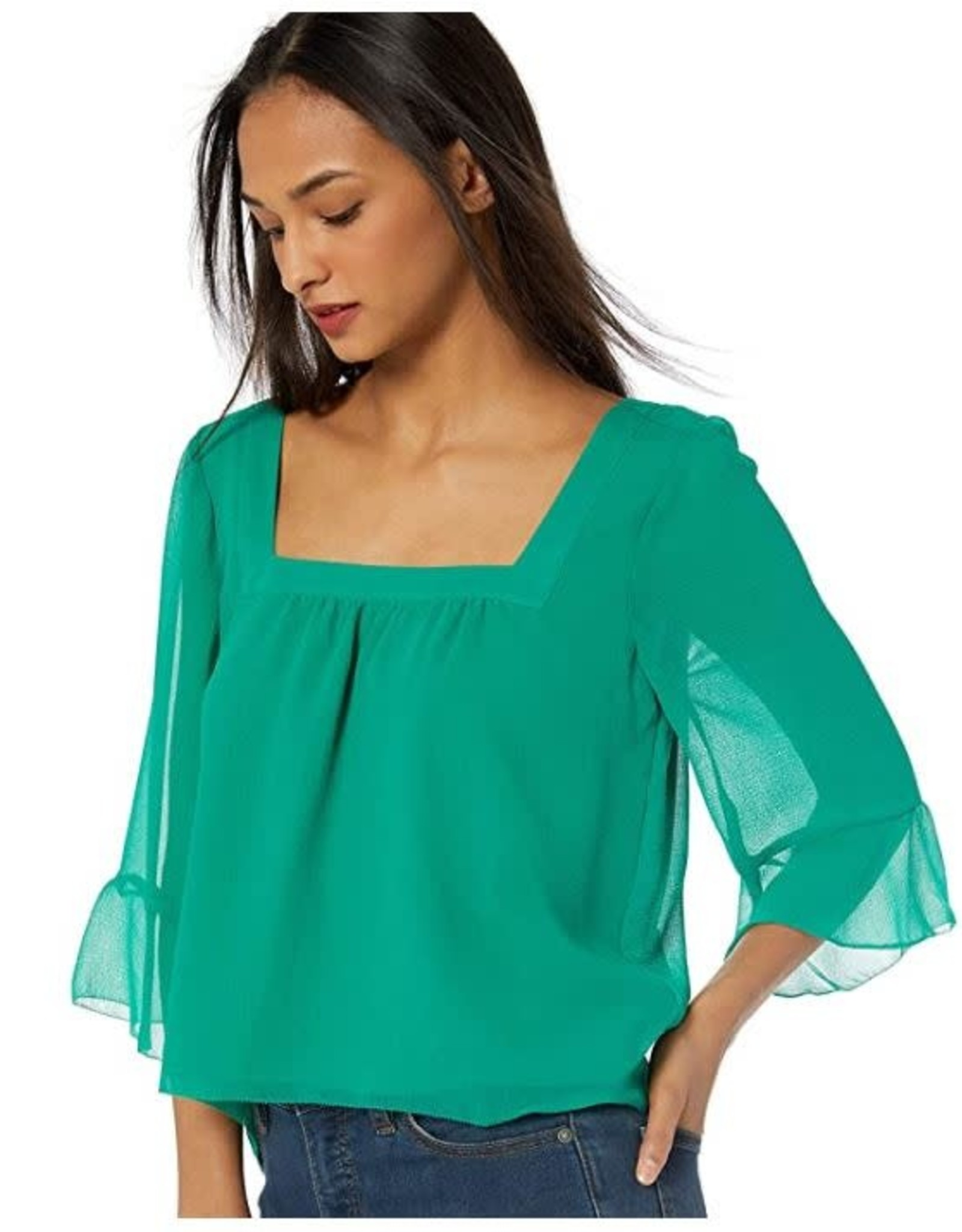 BB Dakota Chiffon Ruffle Sleeve Emerald