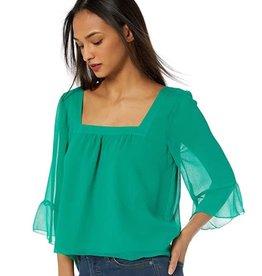 BB Dakota Chiffon Ruffle Sleeve Emerald