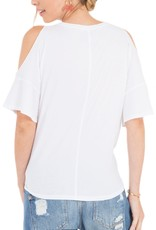 Z Supply Cold Shoulder Knotted Front Tee White