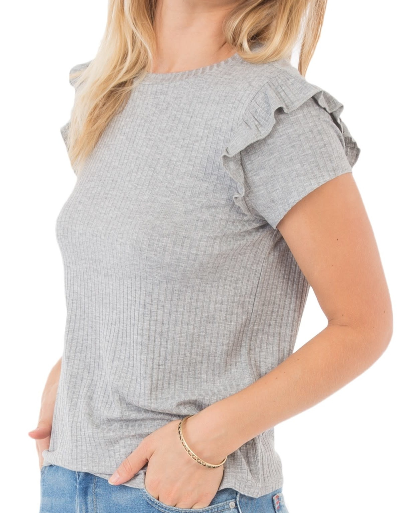 Rag Poets Ribbed Short Sleeve Ruffle  H Grey