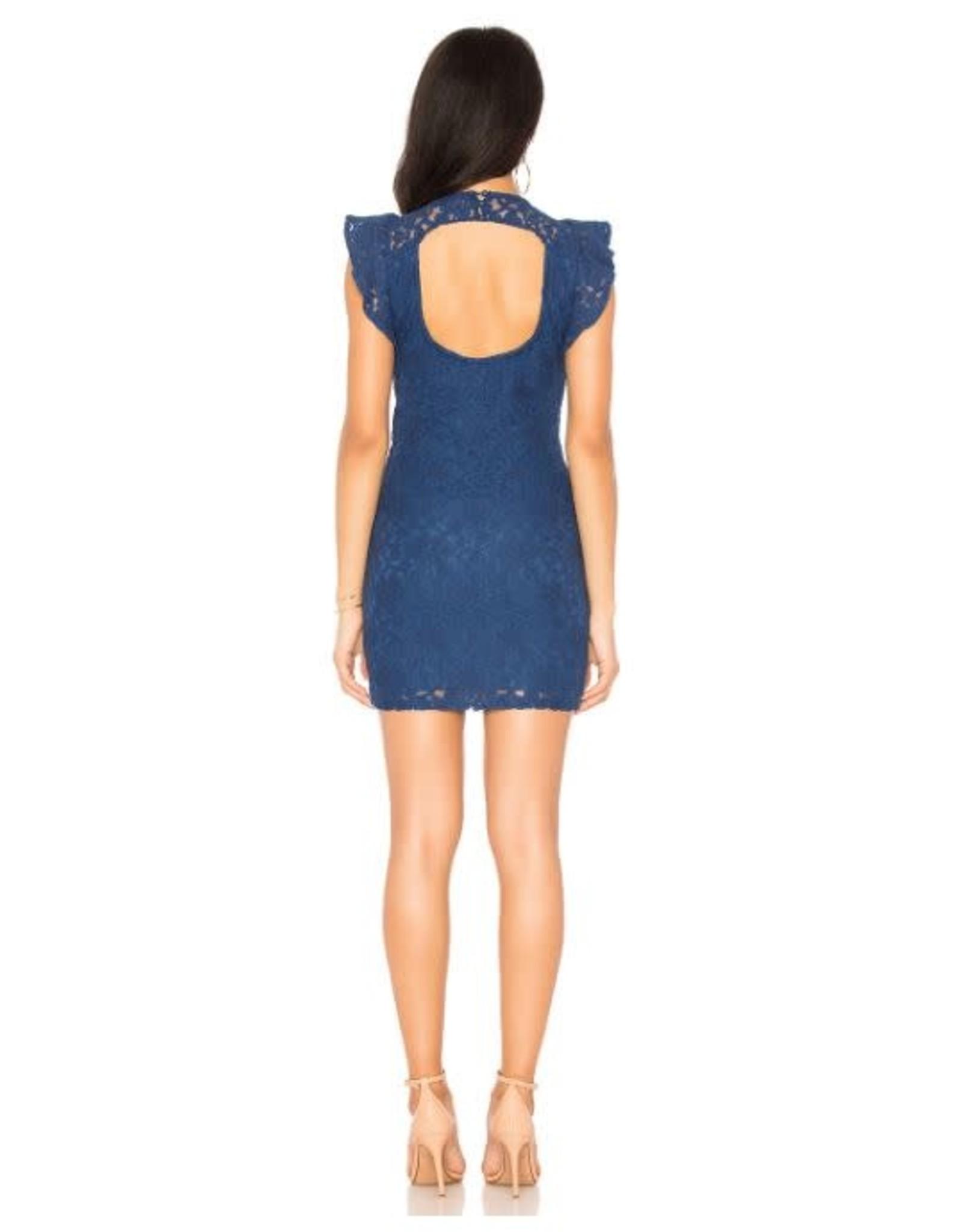Jack Blue Lace Cut-Out Back Dress