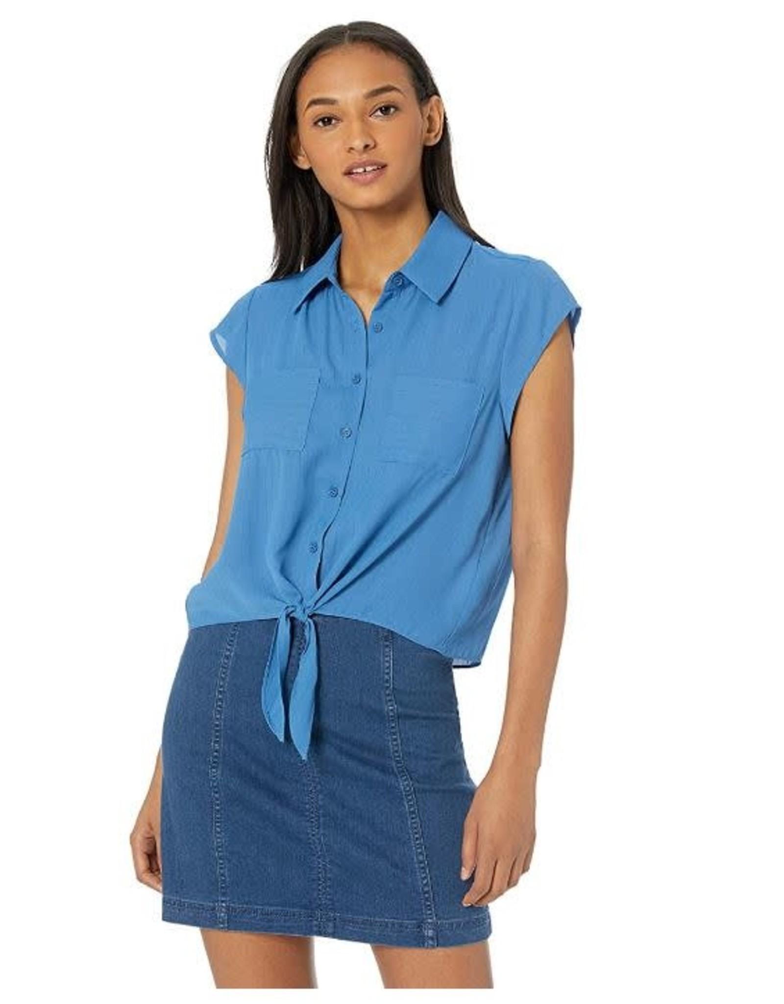 Jack Sea Blue Tie Front Top
