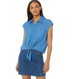 Jack Sea Blue Tie Front Top