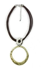 Brown Rope with Silver/Gold Statement Pendant