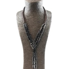 Light Grey Crystal/Beads Necklace