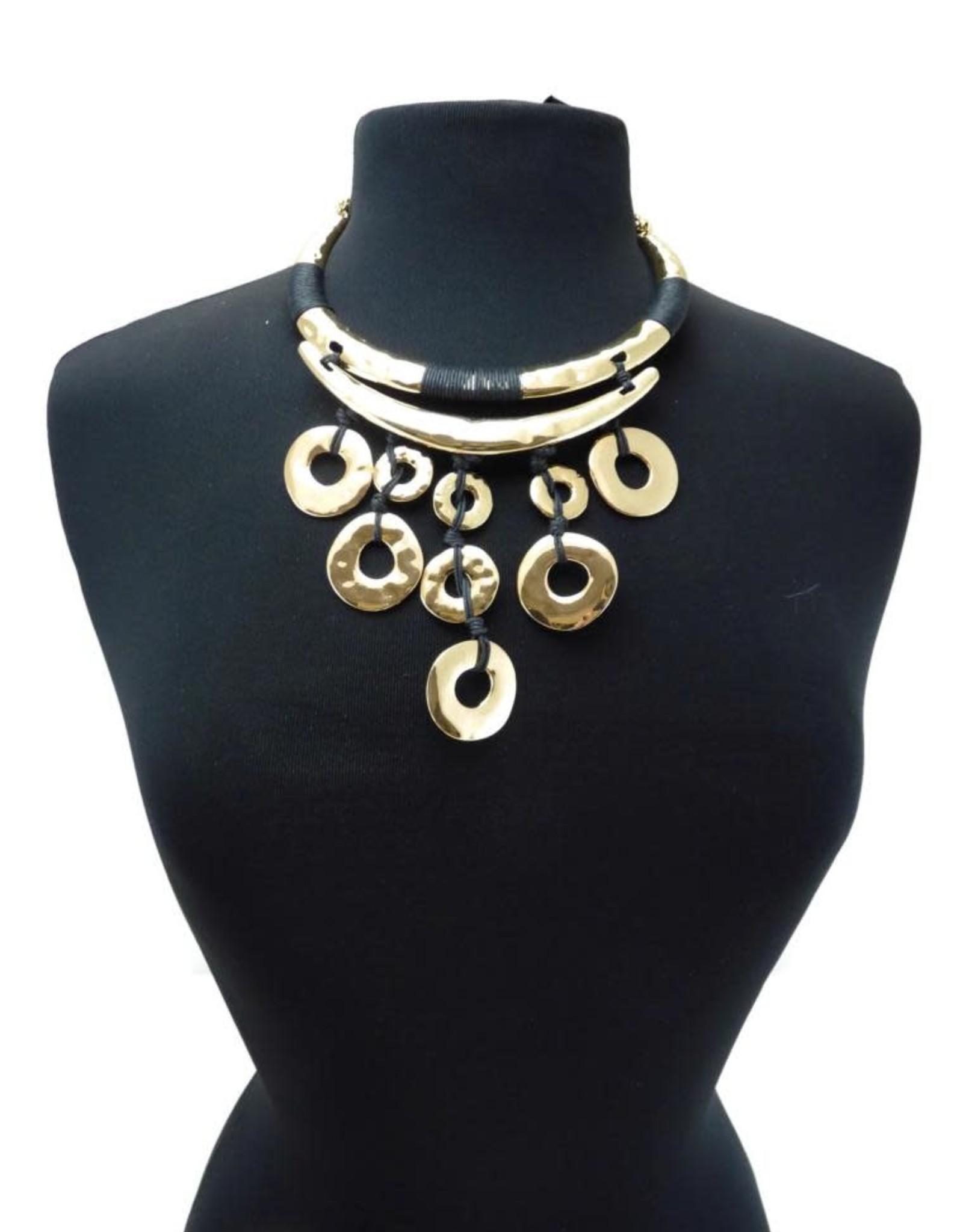 Hammered Gold Black Rope Statement Necklace