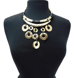 Hammered Gold Black Rope Statement Necklace