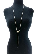 Faux Leather/Gold Long Necklace