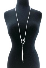Faux Leather/Silver Long Necklace