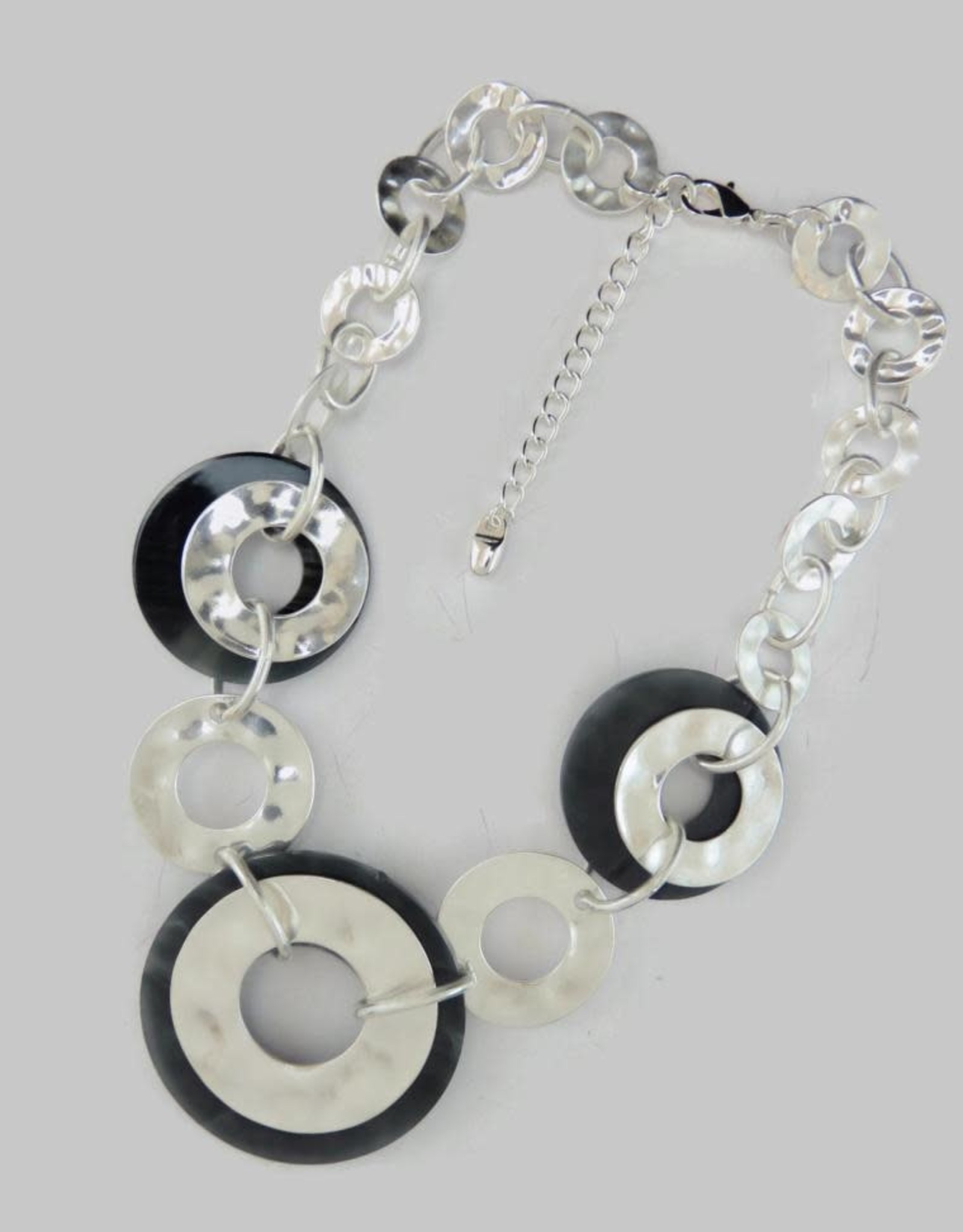 Hammered Silver Acrylic Statement Necklace