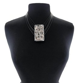 Faux Leather Gray Stone Statement Necklace