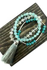 Crystal Blue Clear Silver Beaded Bracelet w/Tassel