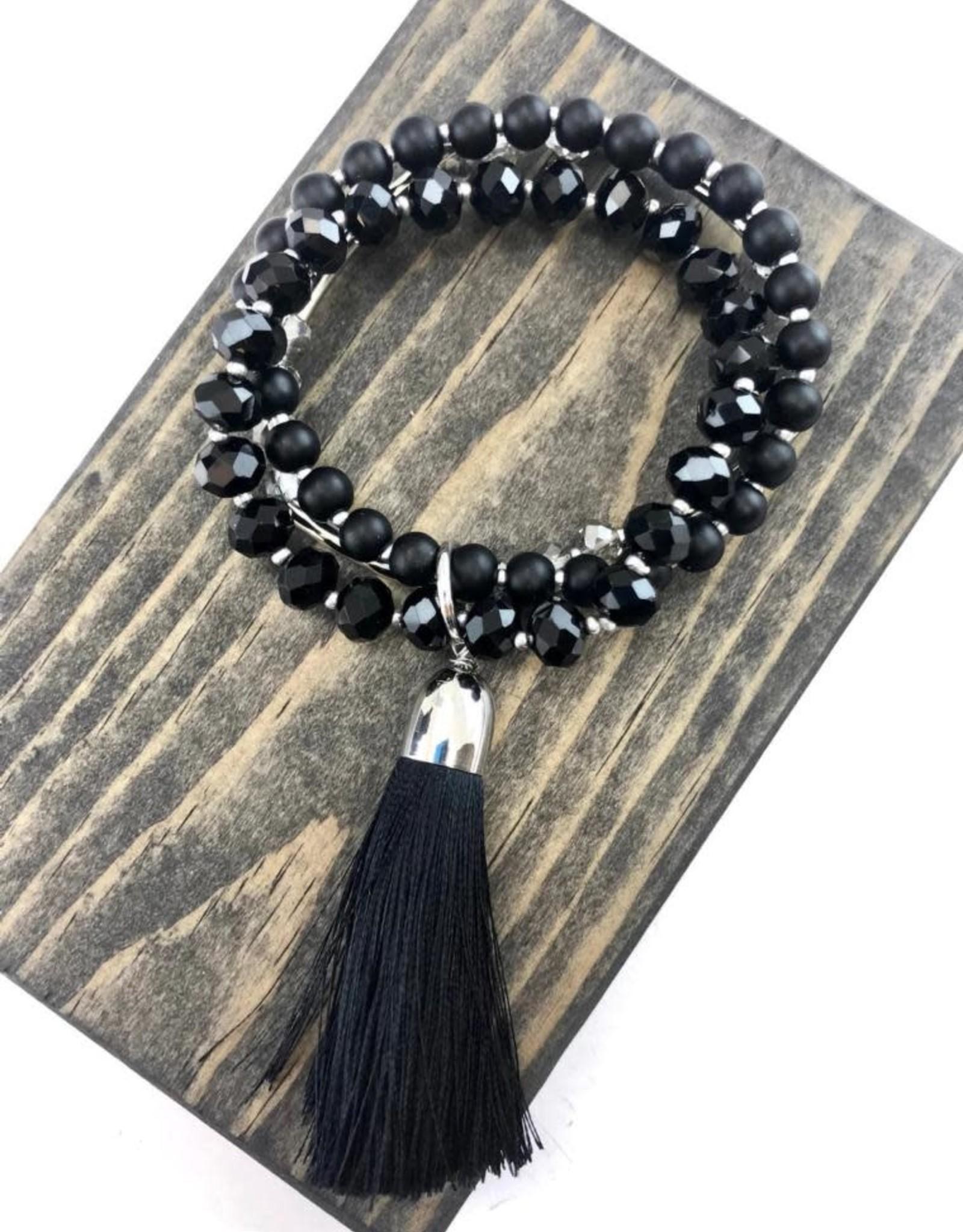 Black Crystal Beaded Bracelet w/Tassel
